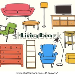 Beautiful Living Room Furniture Set Ideas Decorating Vector Illustration Hand Stock Royalty Of Drawn Made In Linear Style Design Elements Perfect For Any Business Related To