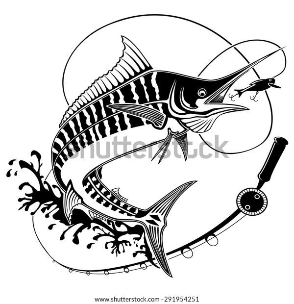 Vector Illustration Marline Fish Waves Fishing Stock