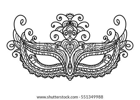 Vector Illustration Mask Holiday Carnival Masquerade Stock