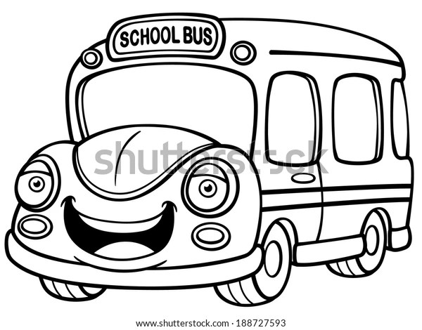 Vector Illustration School Bus Coloring Book Stock Vector