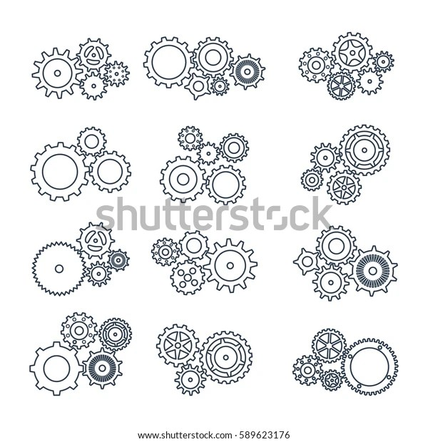 Vector Illustration Set Icons Black Mechanical Stock
