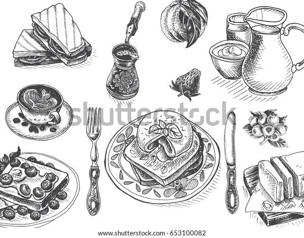 Vector Illustration Sketch Breakfast Card Menu Stock