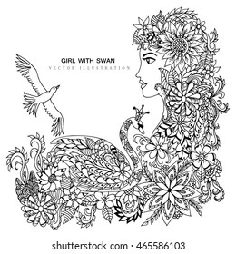 Swan Coloring Page Images, Stock Photos & Vectors
