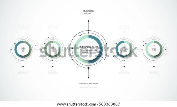 Vector Infographics Design Template 3d Paper Stock Vector