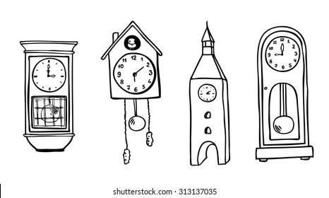 Clock Drawing Wall Images, Stock Photos & Vectors