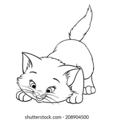 kitten cat cartoon outline clipart drawing kittens outlines playing shutterstock cats line coloring character happy vector fluffy