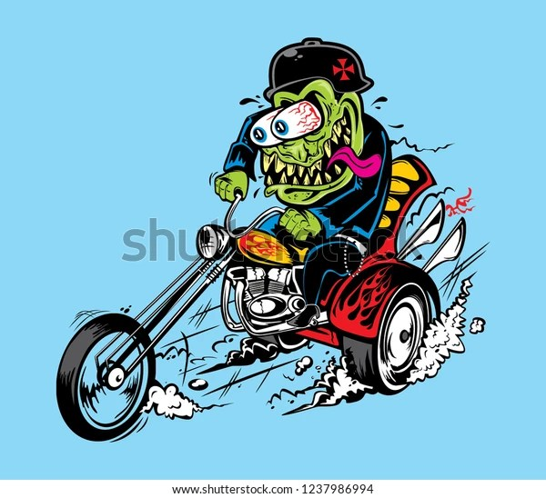 https www shutterstock com image vector vector monster greaser hotrod illustration bikers 1237986994