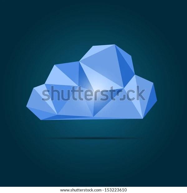 vector origami cloud icon