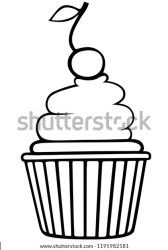 Vector Outline Cupcake Cherry On Top Stock Vector Royalty Free 1195982581
