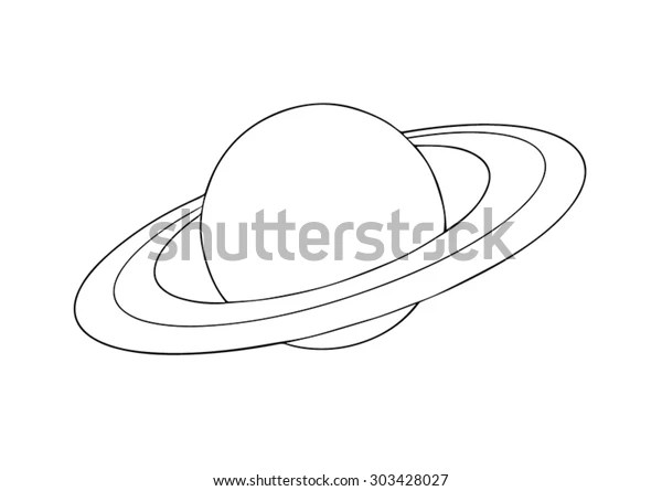 Vector Outline Saturn Planet Rings On Stock Vector