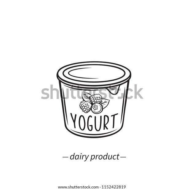Vector Outline Yogurt Icon Berries Dairy Stock Vector