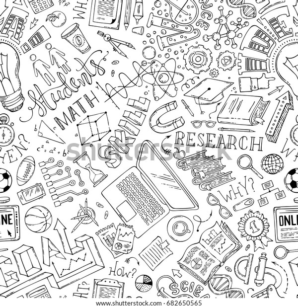 Vector Seamless Doodles Education Pattern Science Stock