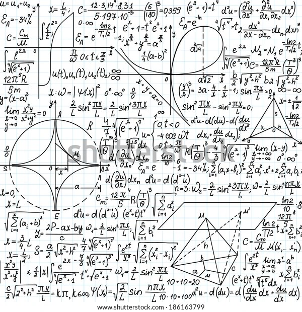 Vector Seamless Pattern Mathematical Formulas Equations