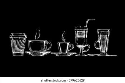 https www shutterstock com image vector vector set coffee cups on black 379625629