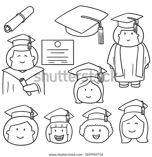 Vector Set Graduate Stock Vector (Royalty Free) 369944714