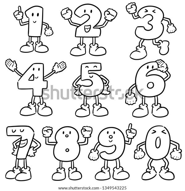 Vector Set Number Cartoon Stock Vector (Royalty Free