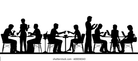 Vector Silhouette Illustration People Dining Busy Stock Vector Royalty Free 600058343