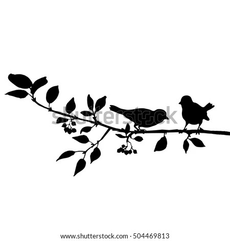 Vector Silhouettes Birds Tree Hand Drawn Vector de stock