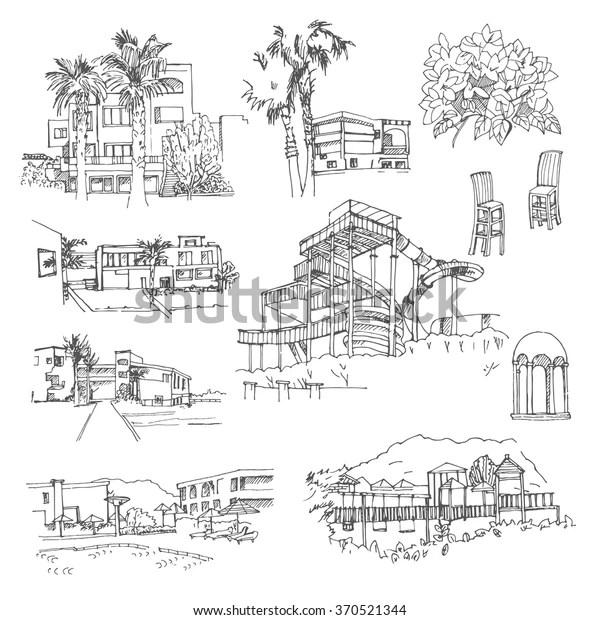 Vector Sketch Greek Hotel Hand Drawn Stock Vector (Royalty