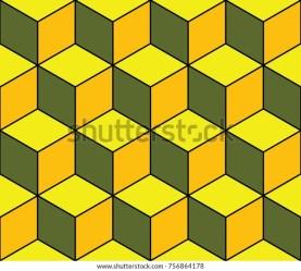 quilt tumbling blocks pattern yellow vector orange