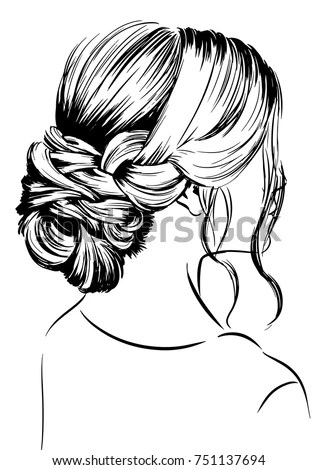 Vector Woman Sketch Elegant Bun Hairstyles Stock Vector