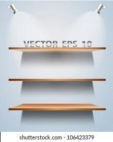 https www shutterstock com image vector vector wood shelf on wall 106423379