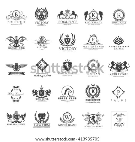 Vintage Logos Set Crest Luxury Brand Stock Vector (Royalty