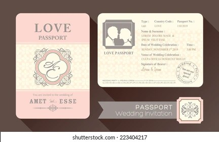 https www shutterstock com image vector vintage visa passport wedding invitation card 223404217