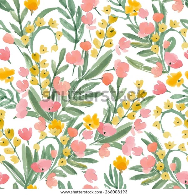 https www shutterstock com fr image vector vintage watercolor wallpaper hand drawn flowers 266008193