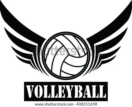 Volleyball Ball Sign Wing Stock Vector (Royalty Free