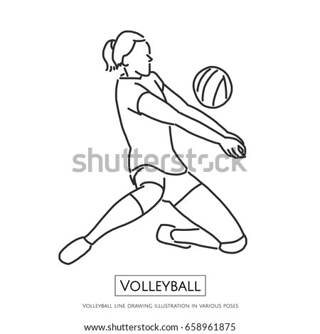 Volleyball Line Drawing Illustration Various Poses Stock