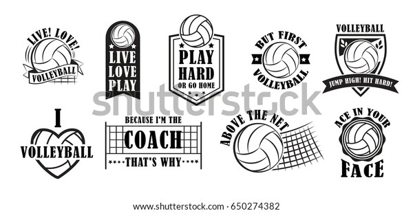 Volleyball Logo Set Creative Labels Players Stock Vector