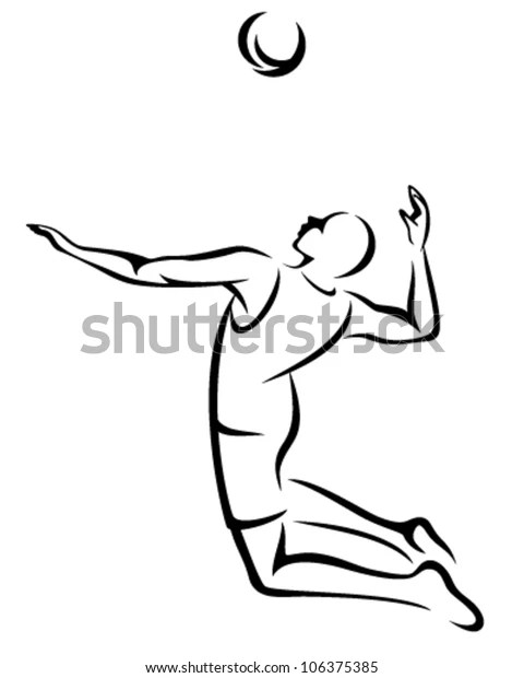 Volleyball Player Serving Ball Black White Stock Vector