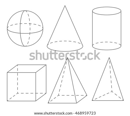 Volume Geometric Shapes Sphere Cone Cylinder 스톡 벡터(사용료 없음