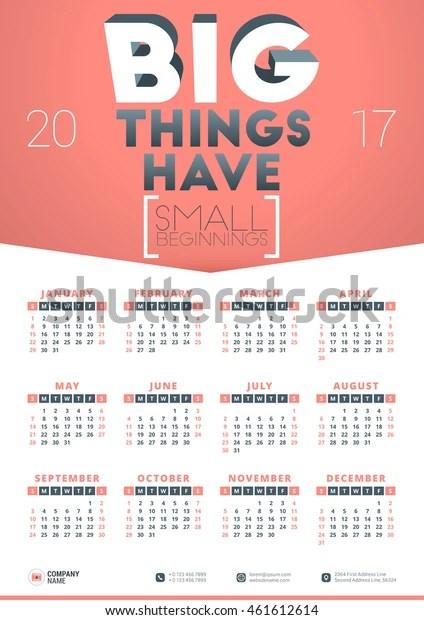 photo 2017 Poster Calendar Template shutterstock