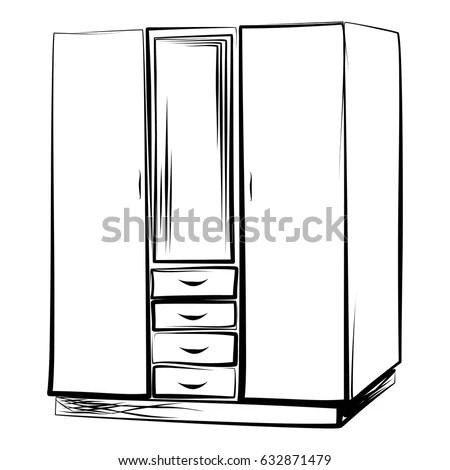 Wardrobe Locker Style Linear Art Manual Stock Vector