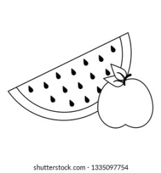 Watermelon Apple Fruits Black White Stock Vector Royalty Free 1335097754