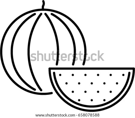 Watermelon Outline Icon Stock Vector (Royalty Free