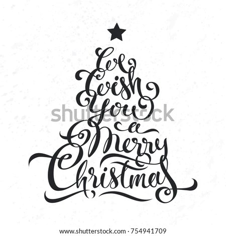 We Wish You Merry Christmas Lettering Stock Vector