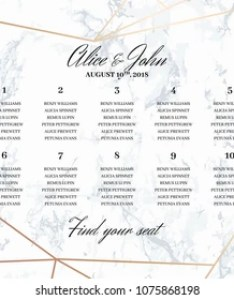 Wedding seating chart poster template geometric design in rose gold on the marble background also plan images stock photos  vectors shutterstock rh