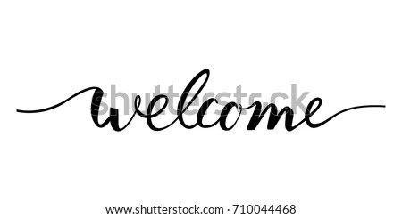 「Welcome Lettering Text Modern Calligraphy Style」のベクター画像素材