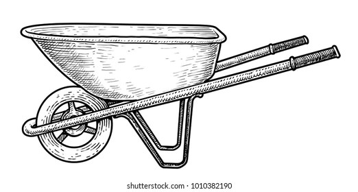 images How To Draw A Simple Wheelbarrow https www shutterstock com image vector wheelbarrow illustration drawing engraving ink line 1010382190