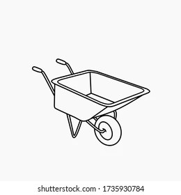 picture How To Draw A Simple Wheelbarrow https www shutterstock com image vector wheelbarrow outline icon tool gardening editable 1735930784