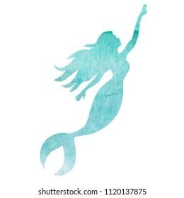 mermaid silhouette images stock
