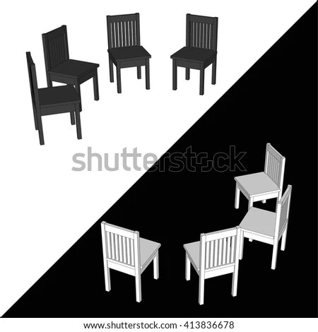 circle furniture chairs bowl chair ikea white black office competitors stock vector royalty arranged in a