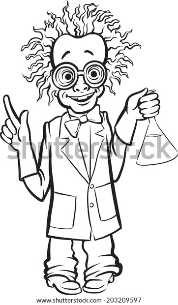 Whiteboard Drawing Cartoon Standing Mad Scientist Stock