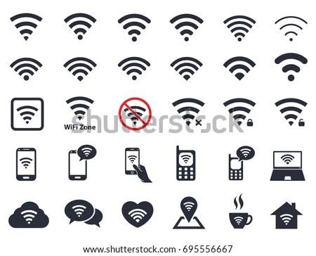 Wifi Icons Wireless Symbols Set Internet Stock Vector