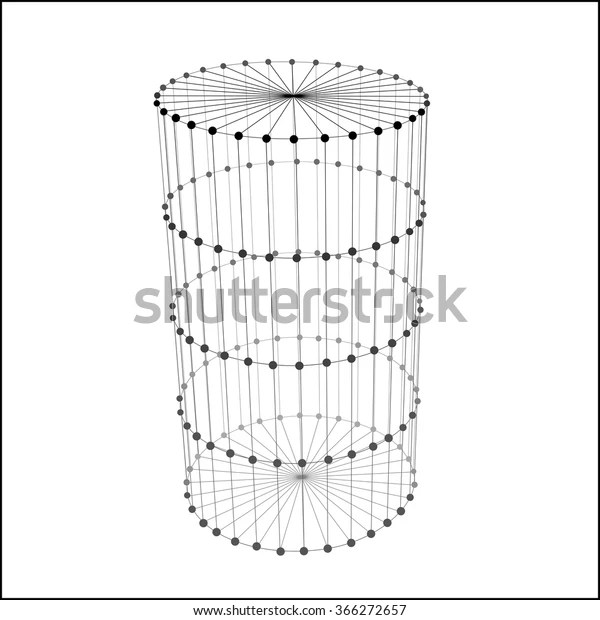 Wire Frame Cylinder Connected Dots Lines Stock Vector