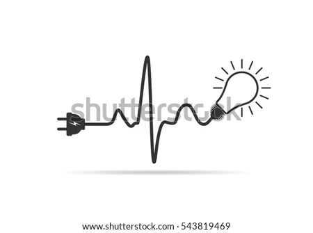Wire Plug Light Bulb Flat Icon Stock Vector (Royalty Free