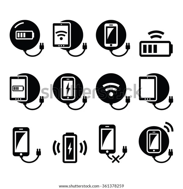 Wireless Charging Pad Smartphone Tablet Icons Stock Vector